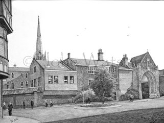 Tombland, Norwich, (pencil drawing) Image.