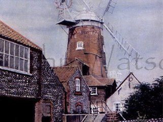 Cley Windmill, Norfolk  (pastel drawing) Image.