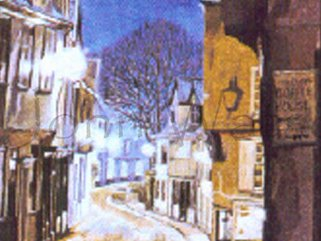 Elm Hill, Norwich, Norfolk  (oil painting) Image.