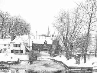 Pulls Ferry, Norwich  Snow, (pencil drawing)  Image.