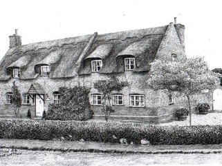 Cottage, Woodbastwick,  Norfolk  (pencil drawing) Image.