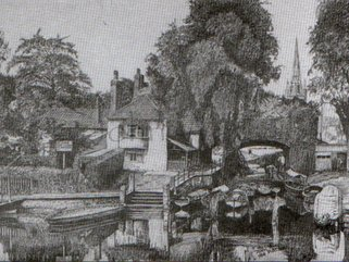 Old  scene  Pulls  Ferry,  Norwich. Norfolk (pencil drawing) Image.